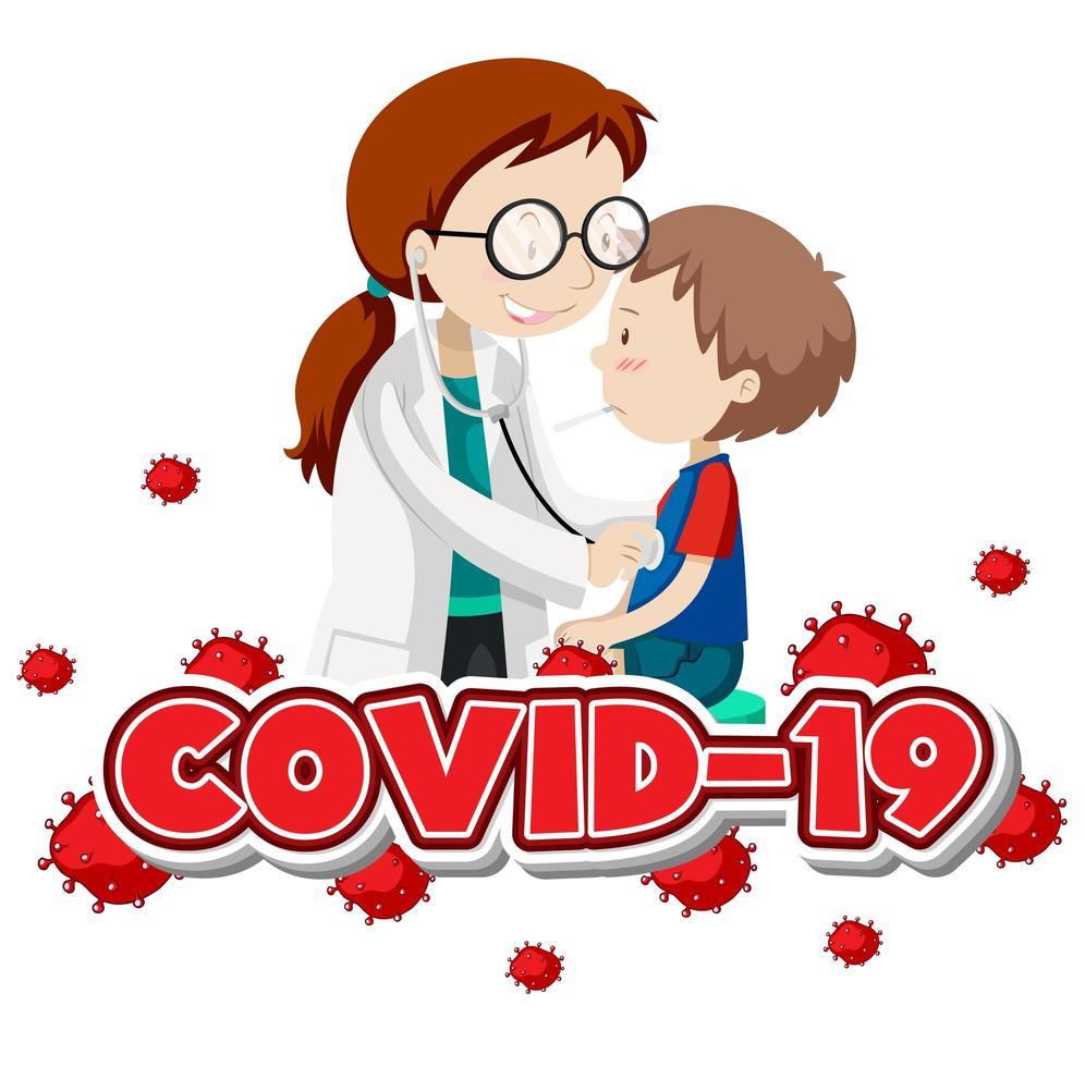 covid-19 texto y doctor examinando niño enfermo vector