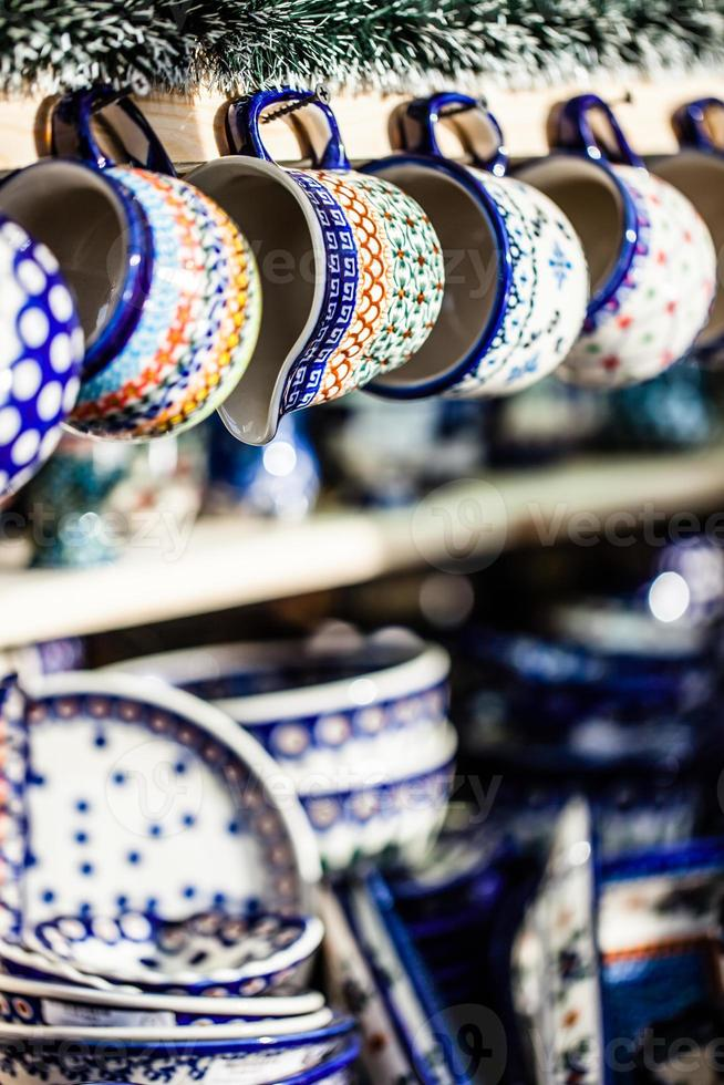 Colorful ceramics in traditonal polish market. photo