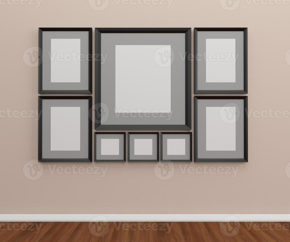 Grupo de marcos de fotos en la pared.