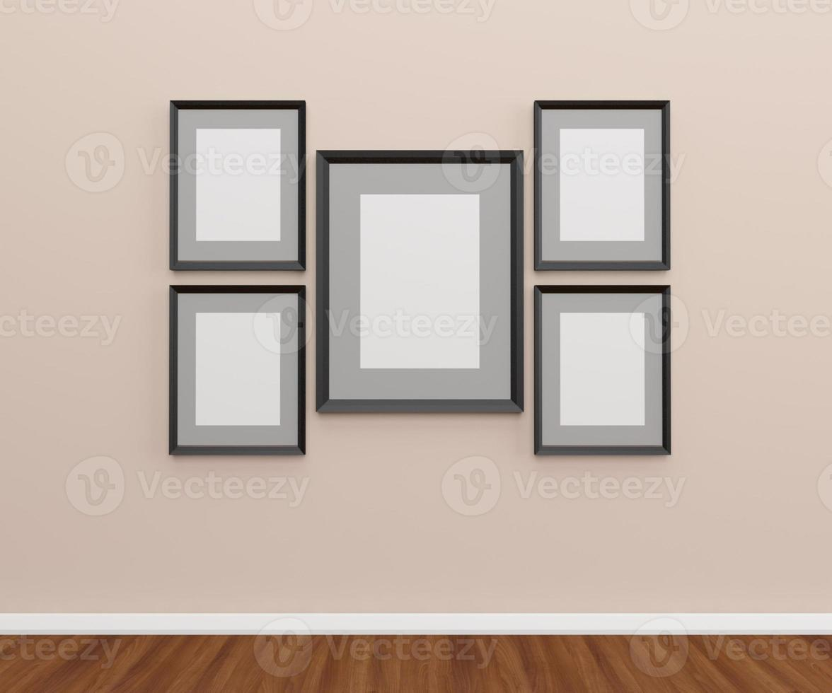 Group of photo frames on the wall.