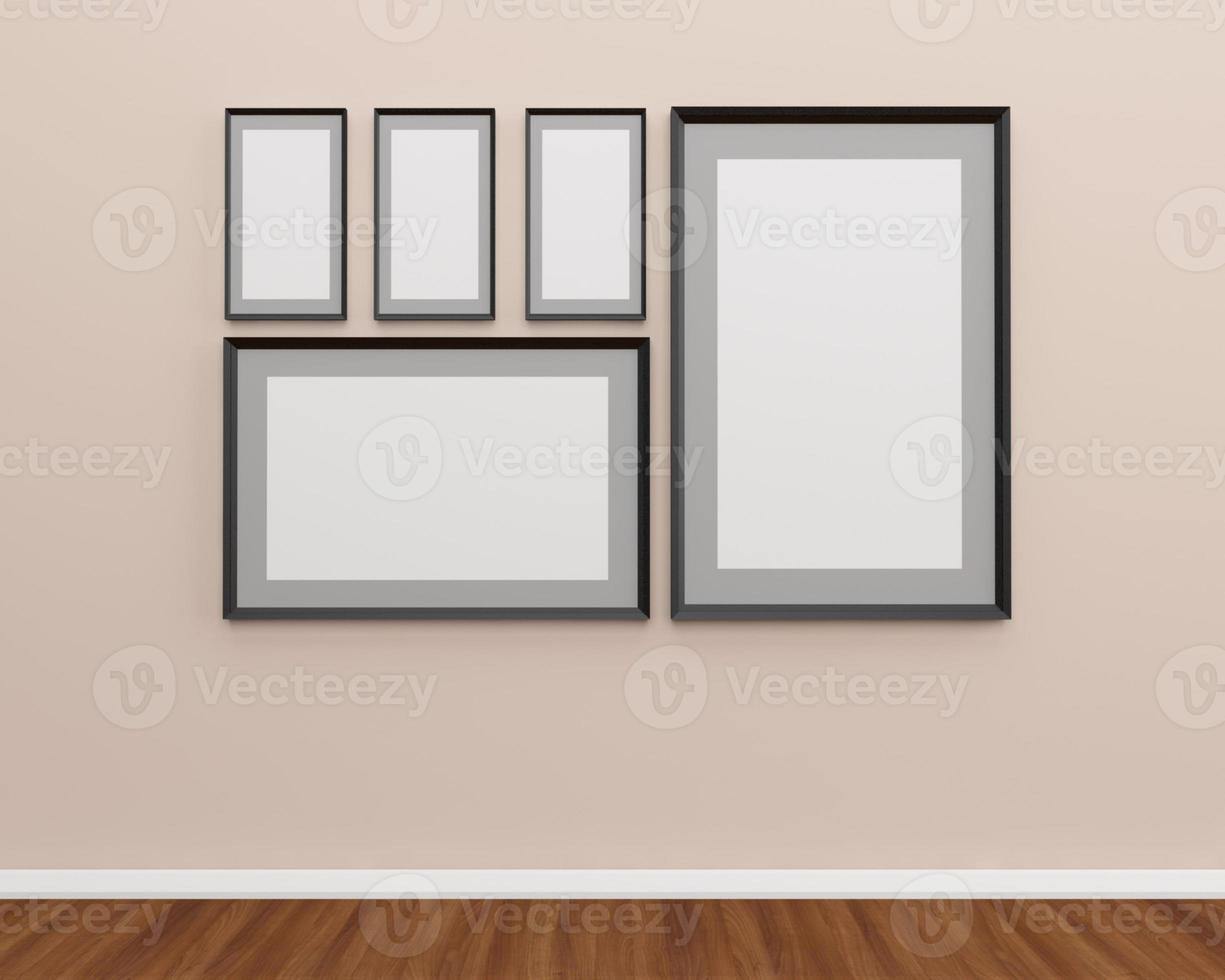 grupo de molduras na parede. foto