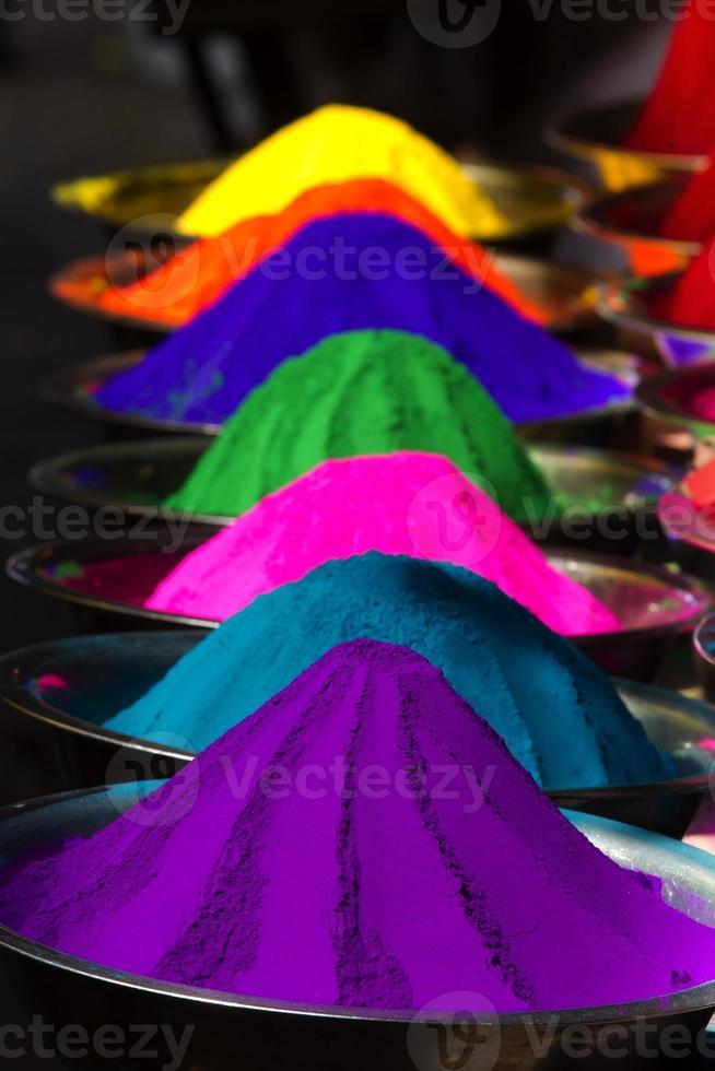 Dye powder stall on Mysore Market, India photo