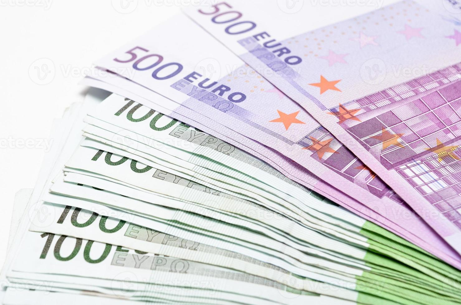 Stack of money euro bills banknotes. Euro currency from Europe photo