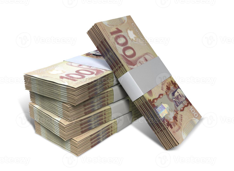 pila de paquetes de billetes de dólar canadiense foto