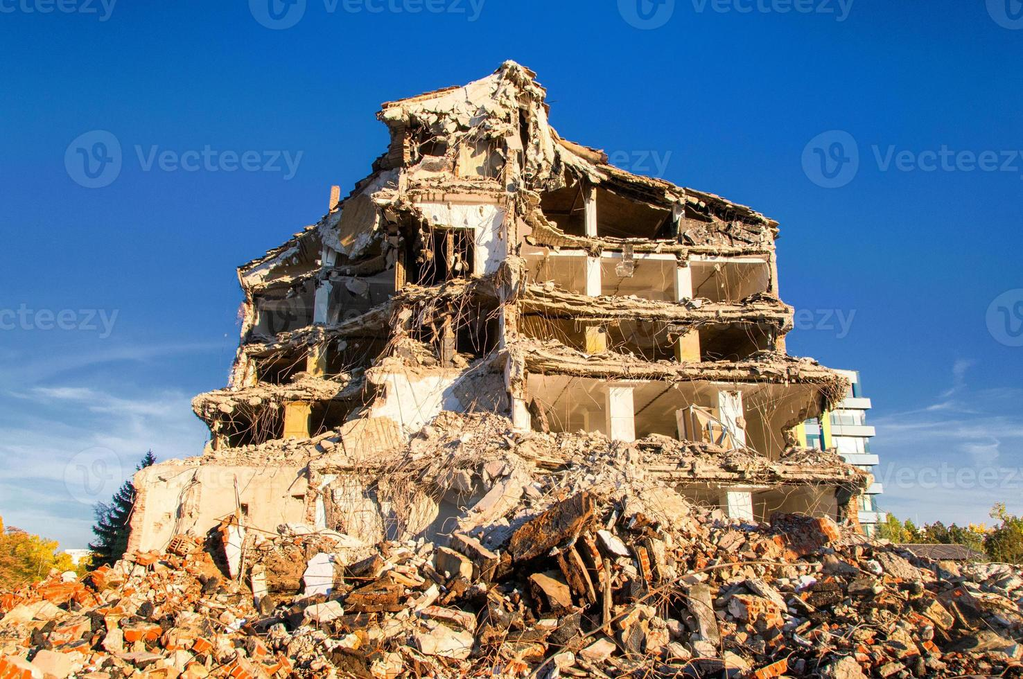 Demolition of buildings in urban photo