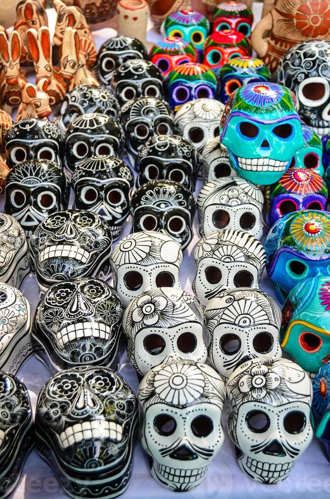 Mexican day of the dead souvenir skulls (Dia de Muertos) photo