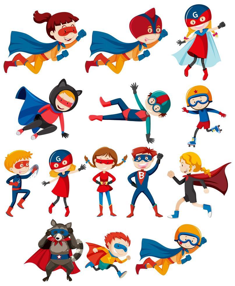conjunto de niños héroes en disfraces - Descargar Vectores Gratis,  Illustrator Graficos, Plantillas Diseño