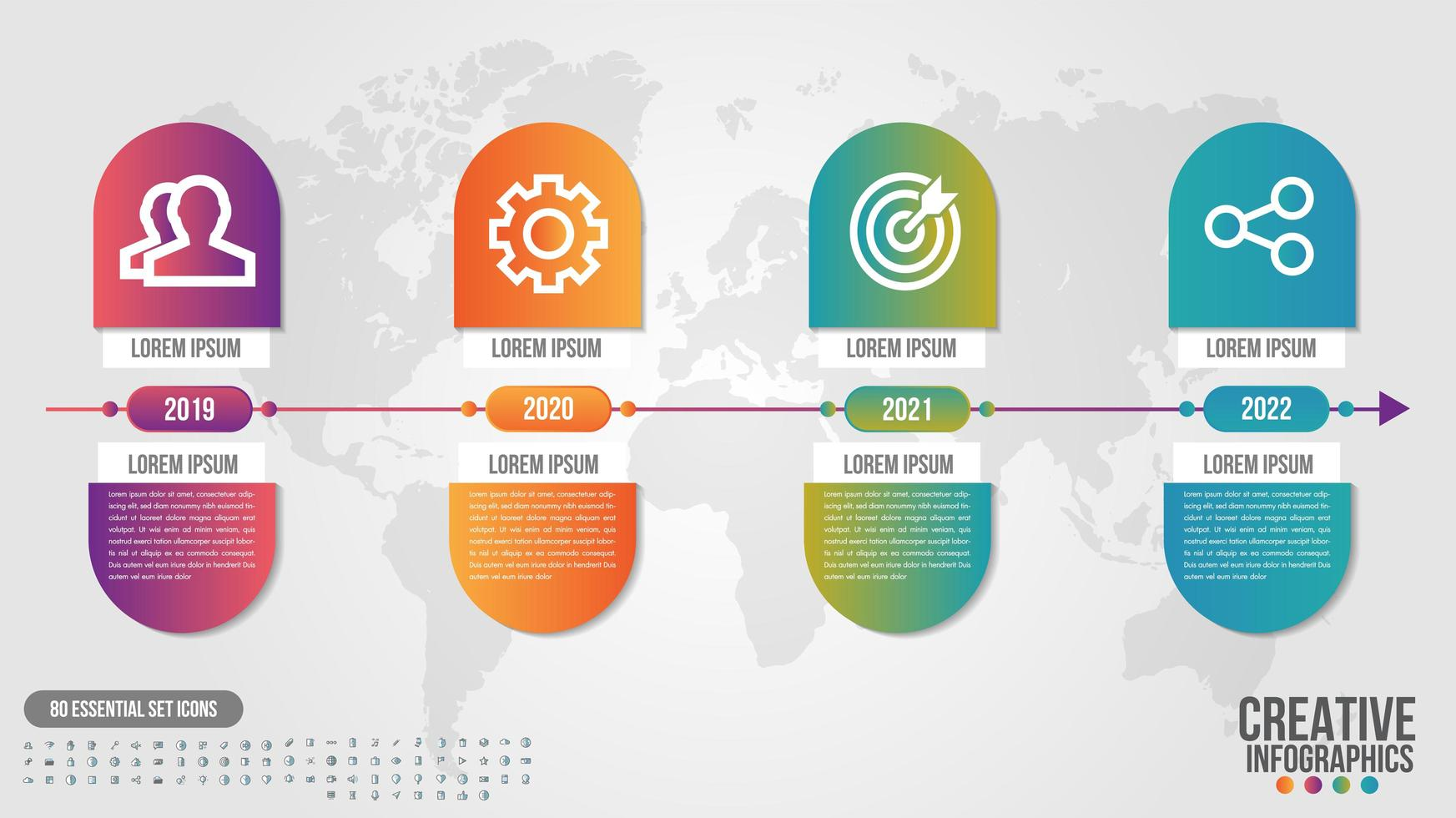 Infographic timeline gradient capsule design with 4 steps vector