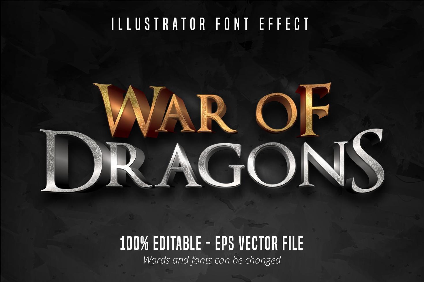 efecto de fuente de texto de guerra de dragones vector