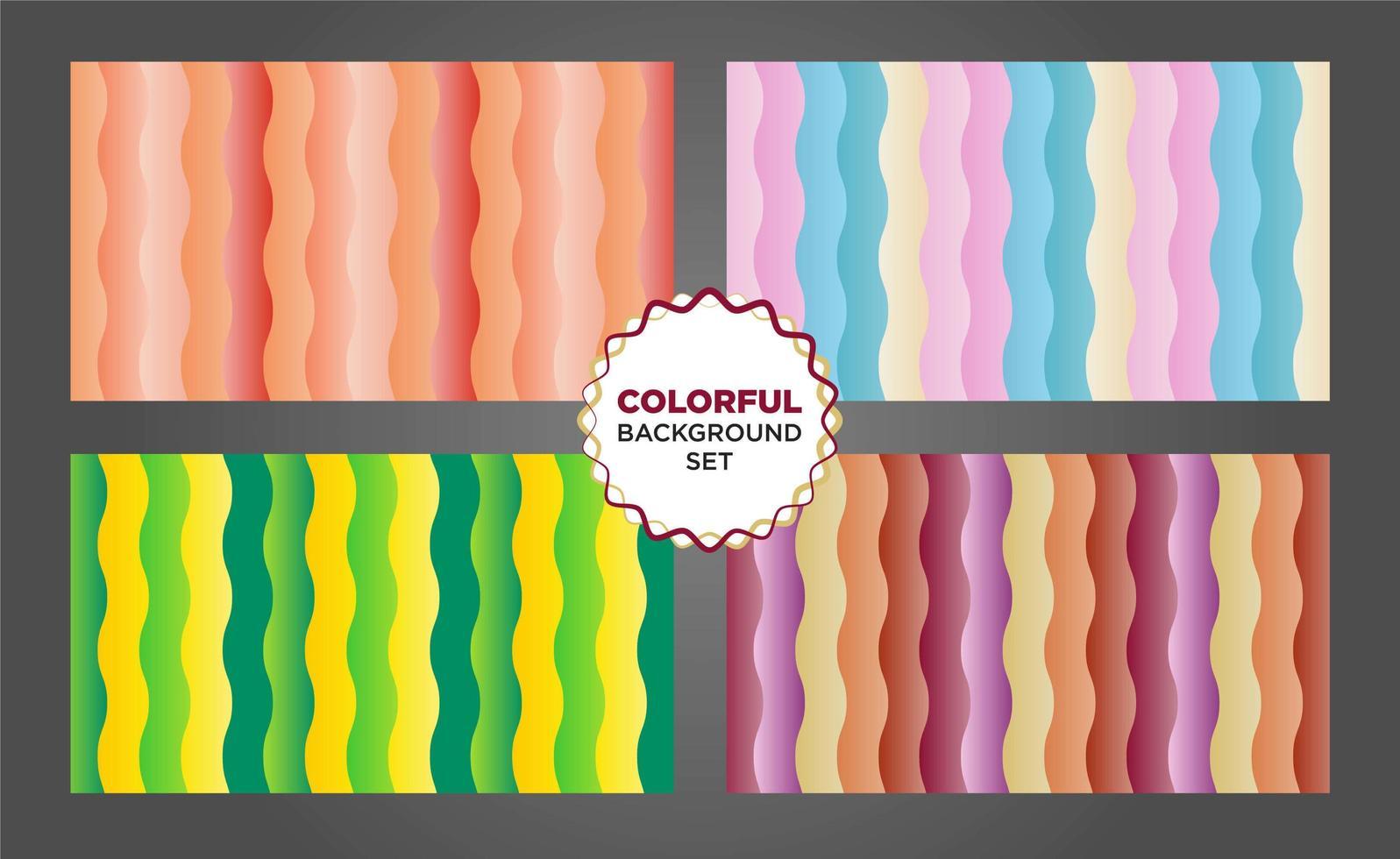 Colorful vertical wavy shape background set vector