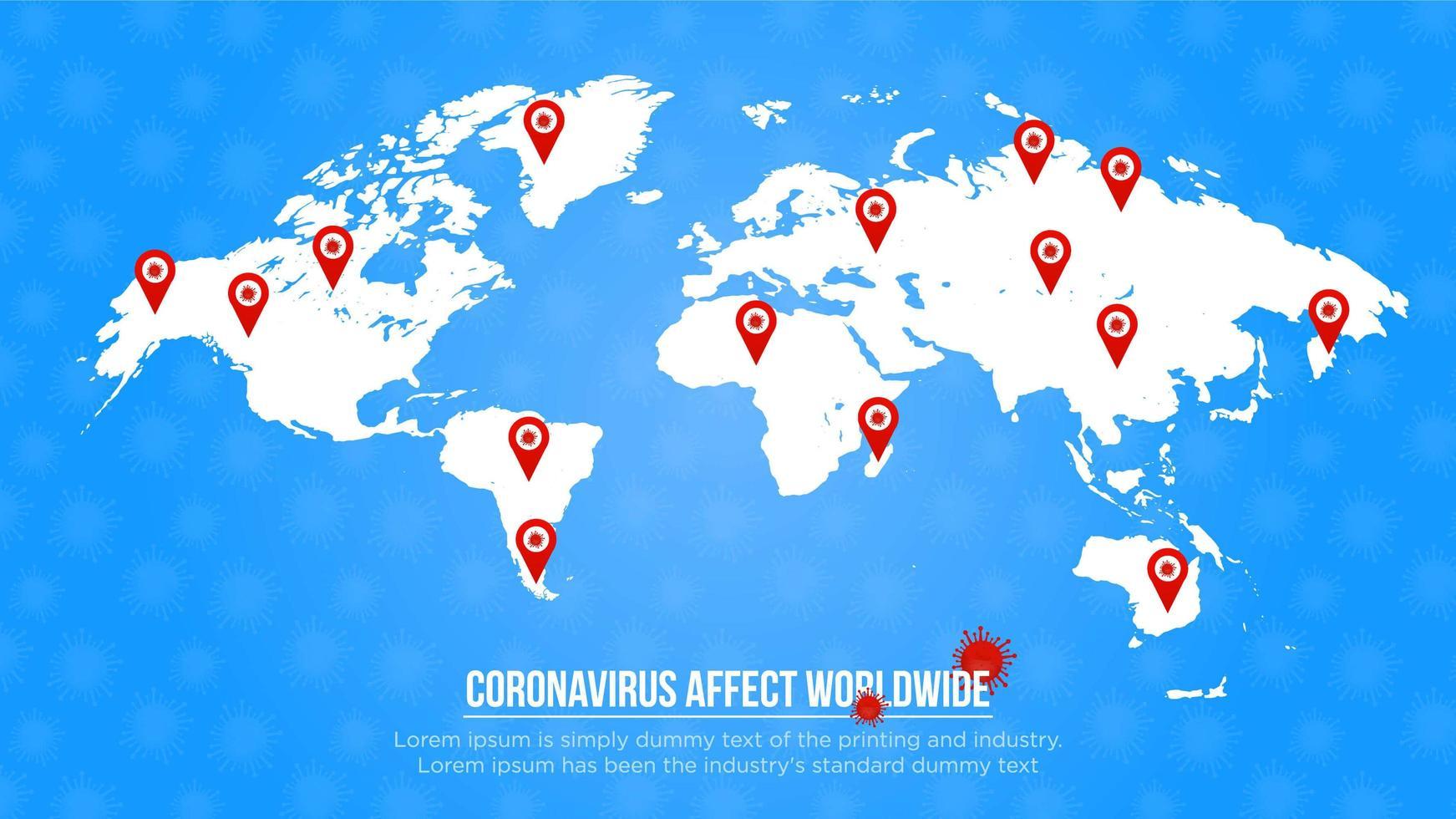 cartel azul con pines de ubicación mundial afectados por coronavirus vector