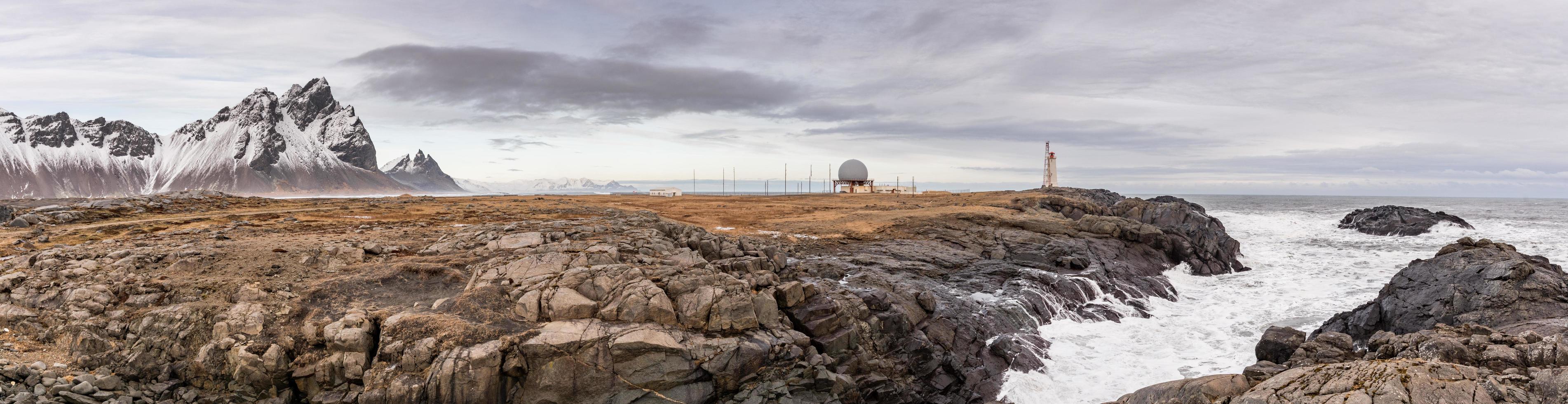 Panorama of Stokksnes in Vatnajokull National Park in Iceland photo