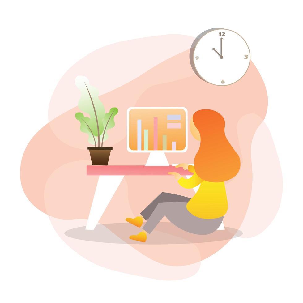 mujer que trabaja en la mesa en la computadora vector