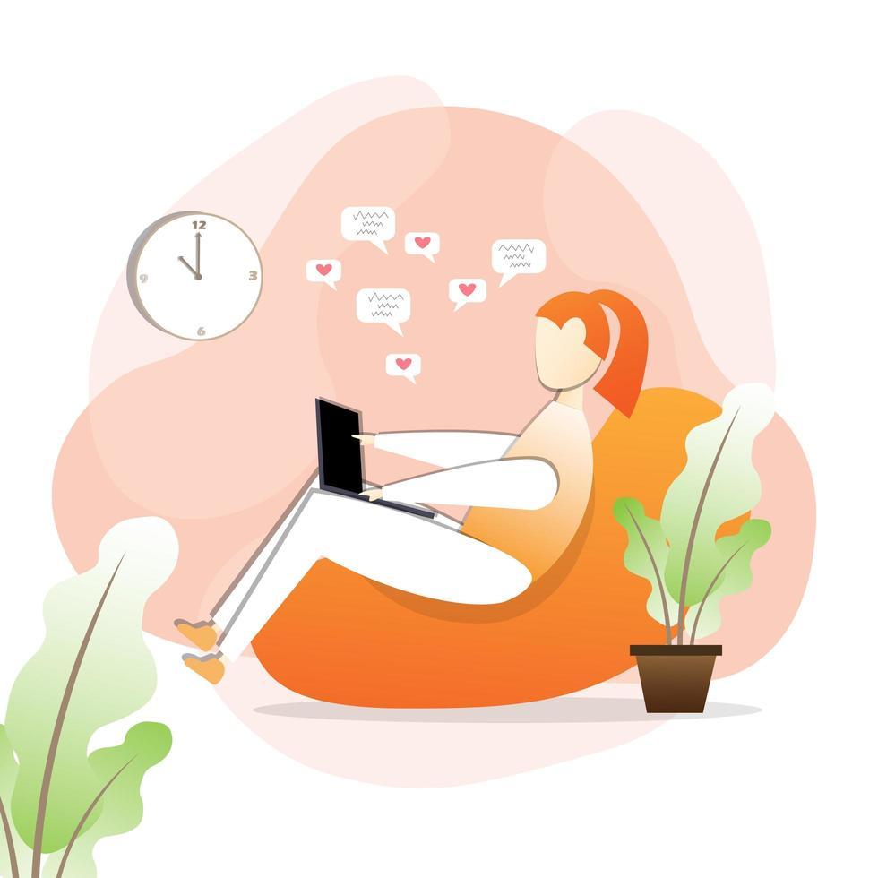 mujer relajante en casa mientras trabaja vector