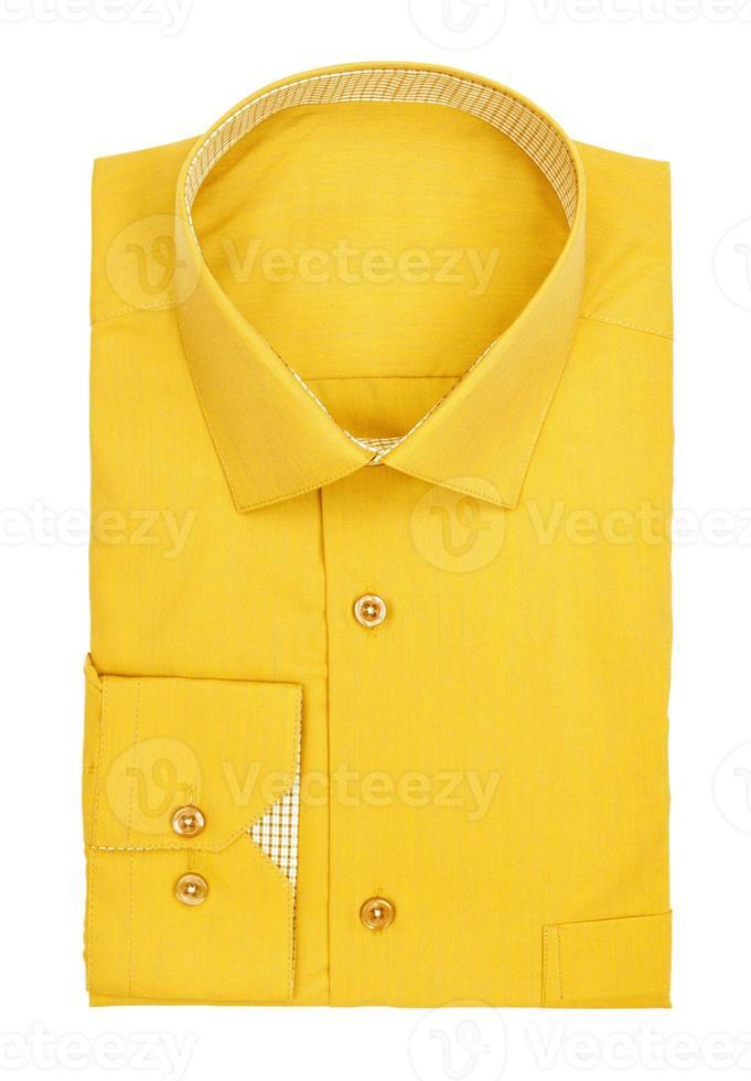 mannen geel shirt op een witte achtergrond foto