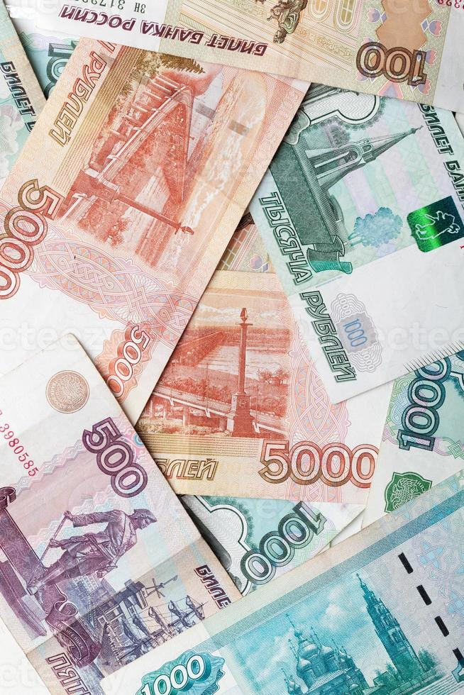 Russian money background. Rubles banknotes close-up photo textur