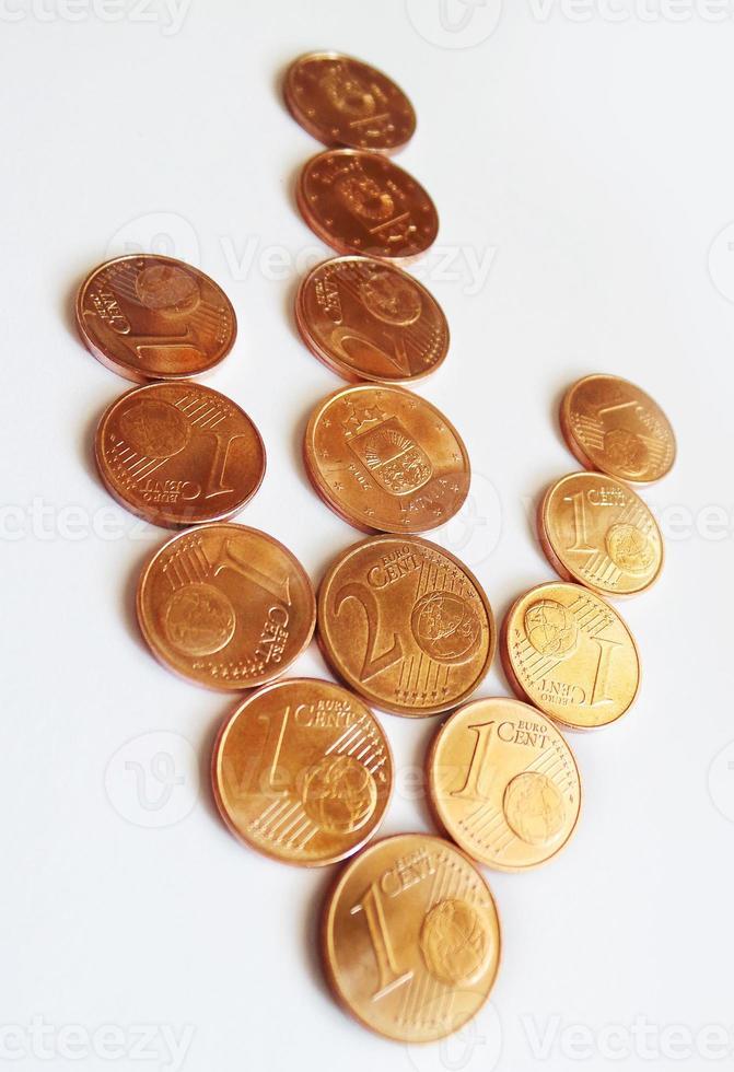 flecha de monedas de dinero, abajo - euro y centavo foto