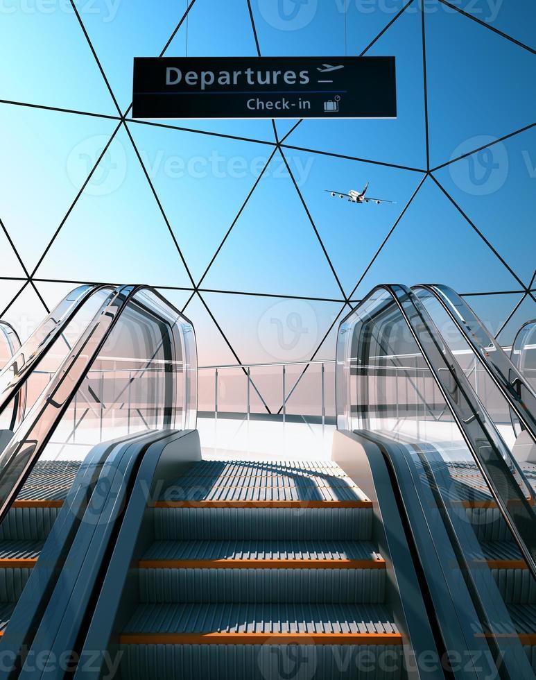 escalator in modern airport photo