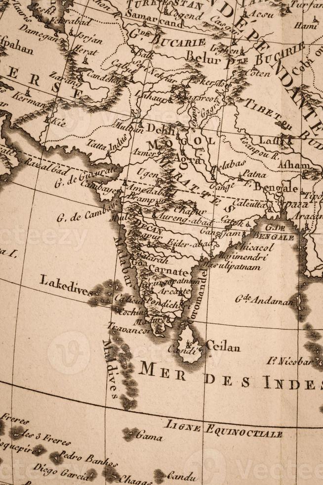 Old world map India photo