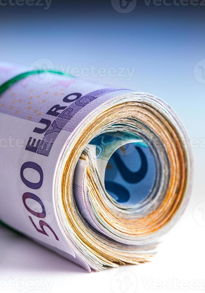 Rolled euro banknotes several thousand. photo