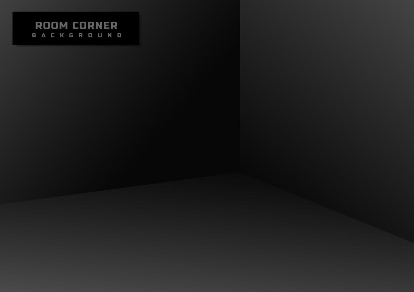 esquina de la habitación vacía negra vector