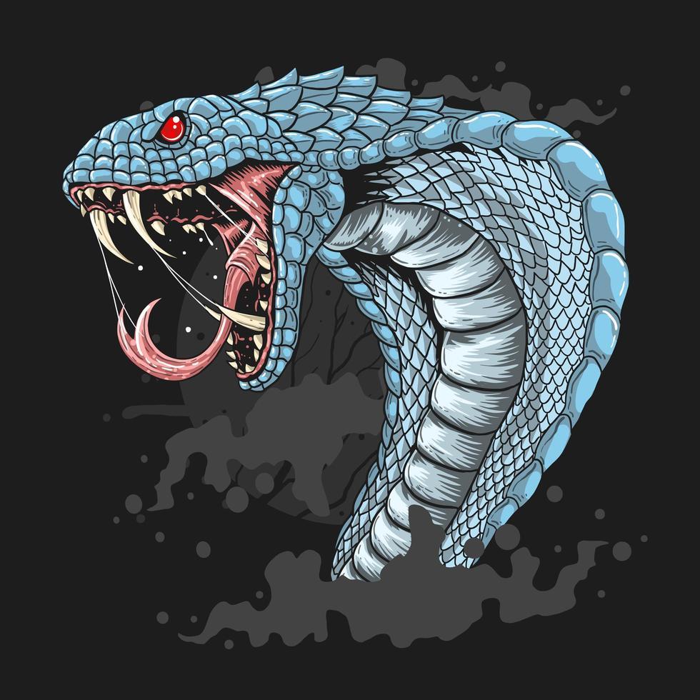 cabeza de cobra azul con la boca abierta vector
