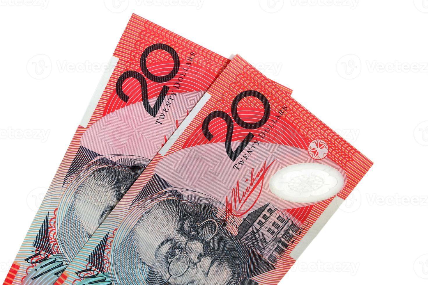 dos billetes de veinte dólares australianos foto