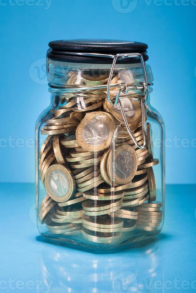 Euro Coins In Jar photo