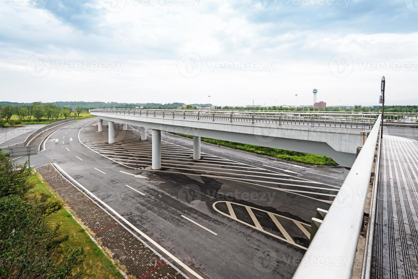 concrete road curve of viaduct in shanghai china outdoor. photo