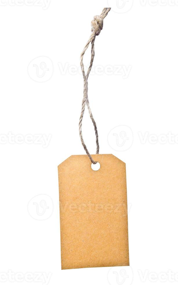 Blank tag tied with brown string. photo