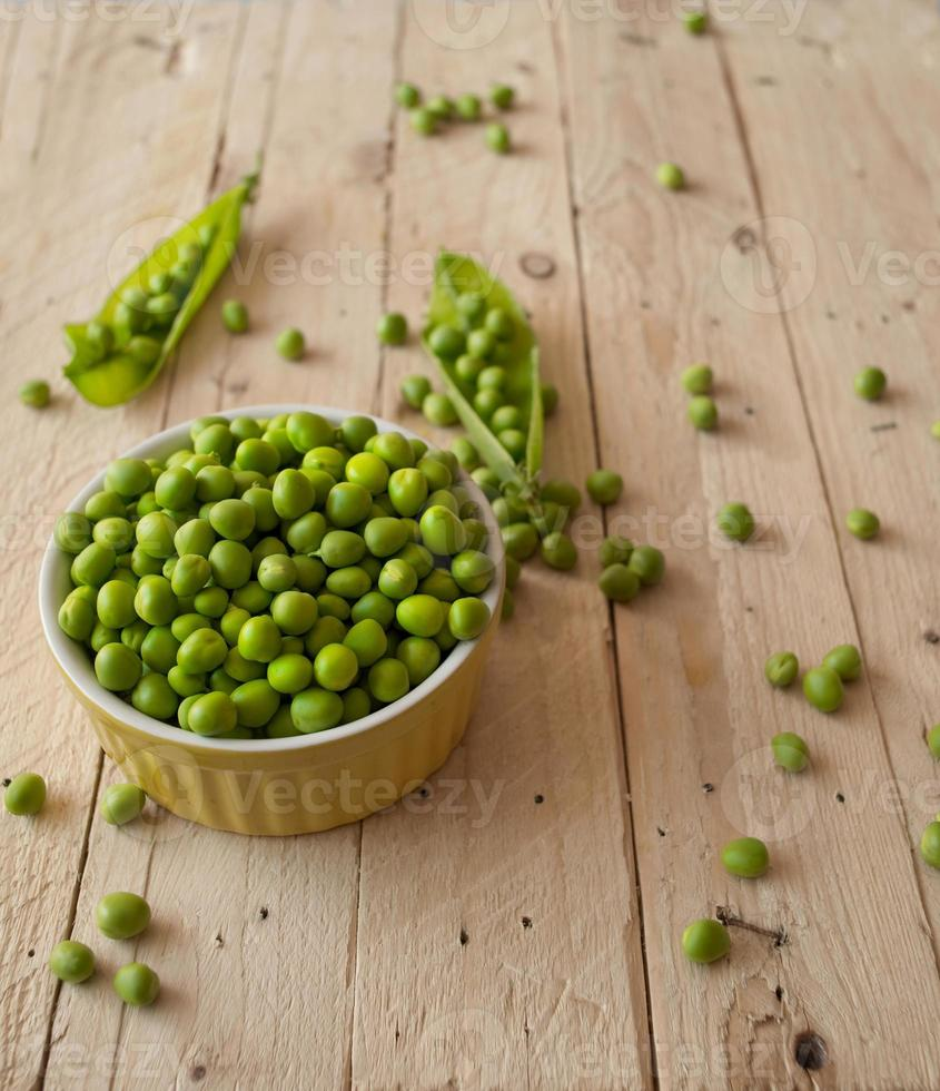 Ecological fresh green peas pods. photo