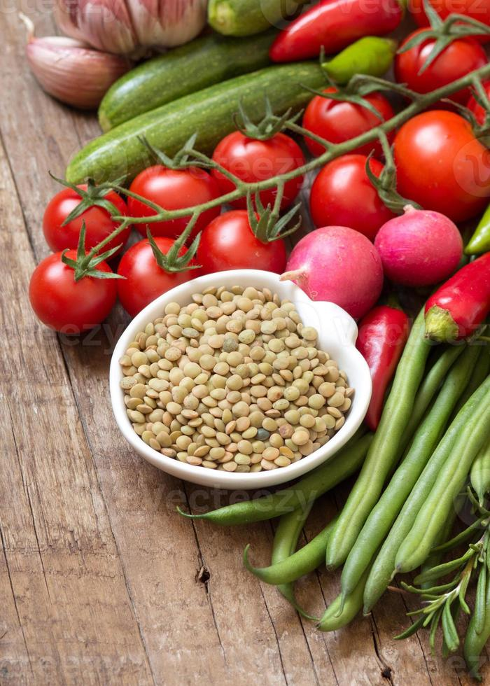 Green lentils and vegetables photo