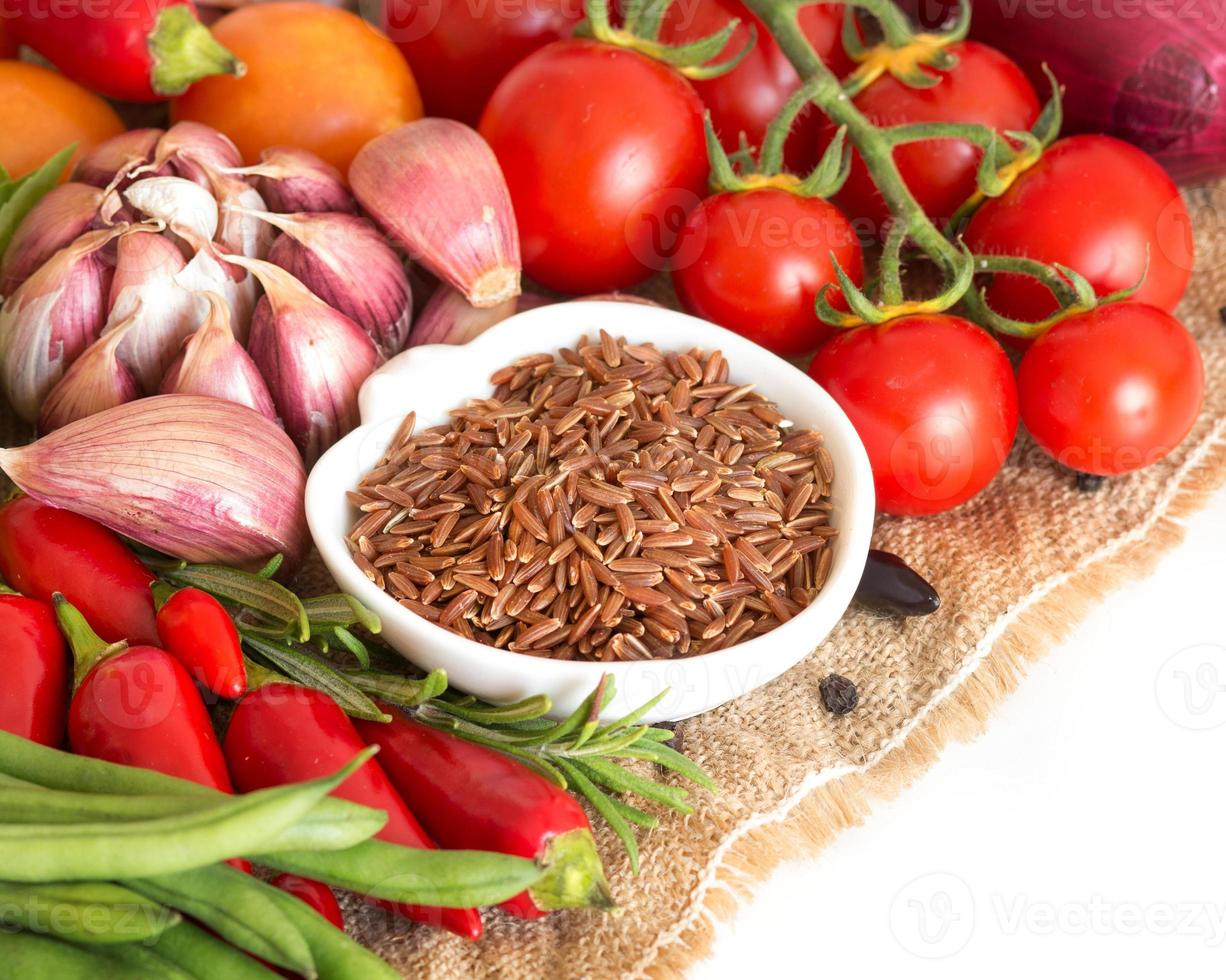 Red organic rice and vegetables photo