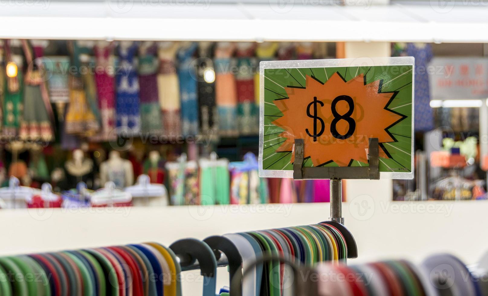 Sale price on a rack of clothes photo