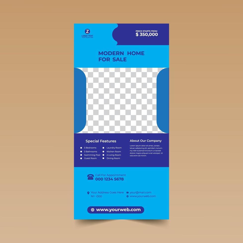 plantilla de diseño de tarjeta de rack azul vector