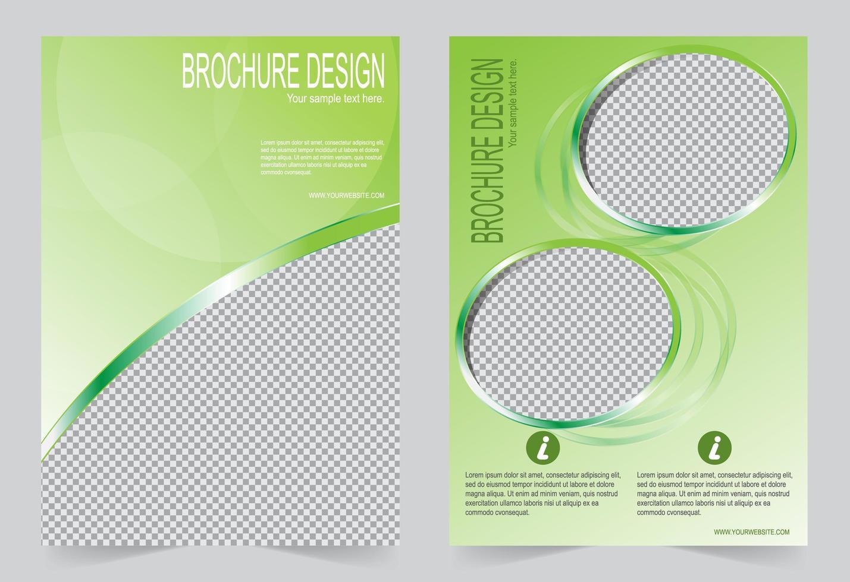 diseño de plantilla de portada verde con marcos de fotos vector