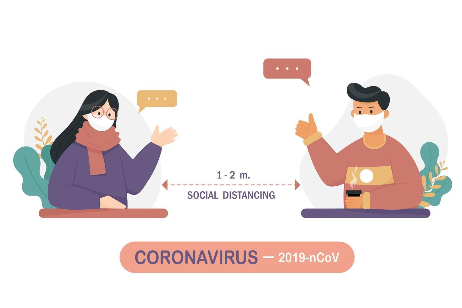 hombre y mujer conversando mientras se distancia social vector