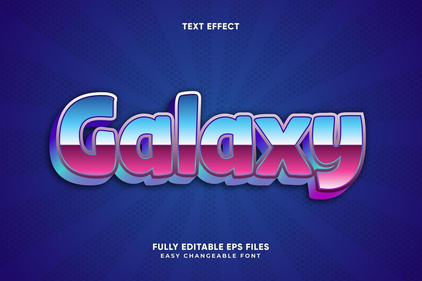 effetto di testo metallico blu e rosa galassia vettore