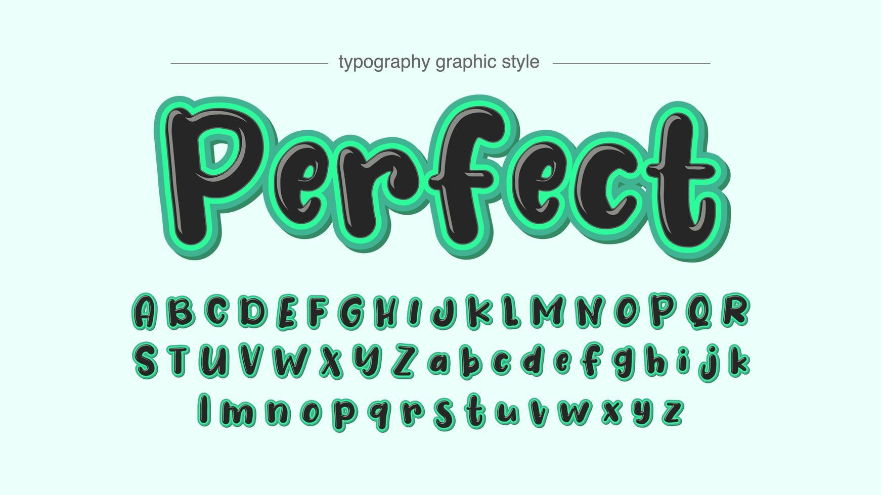 pennarello nero con tipografia cartoon colpo di verde brillante vettore