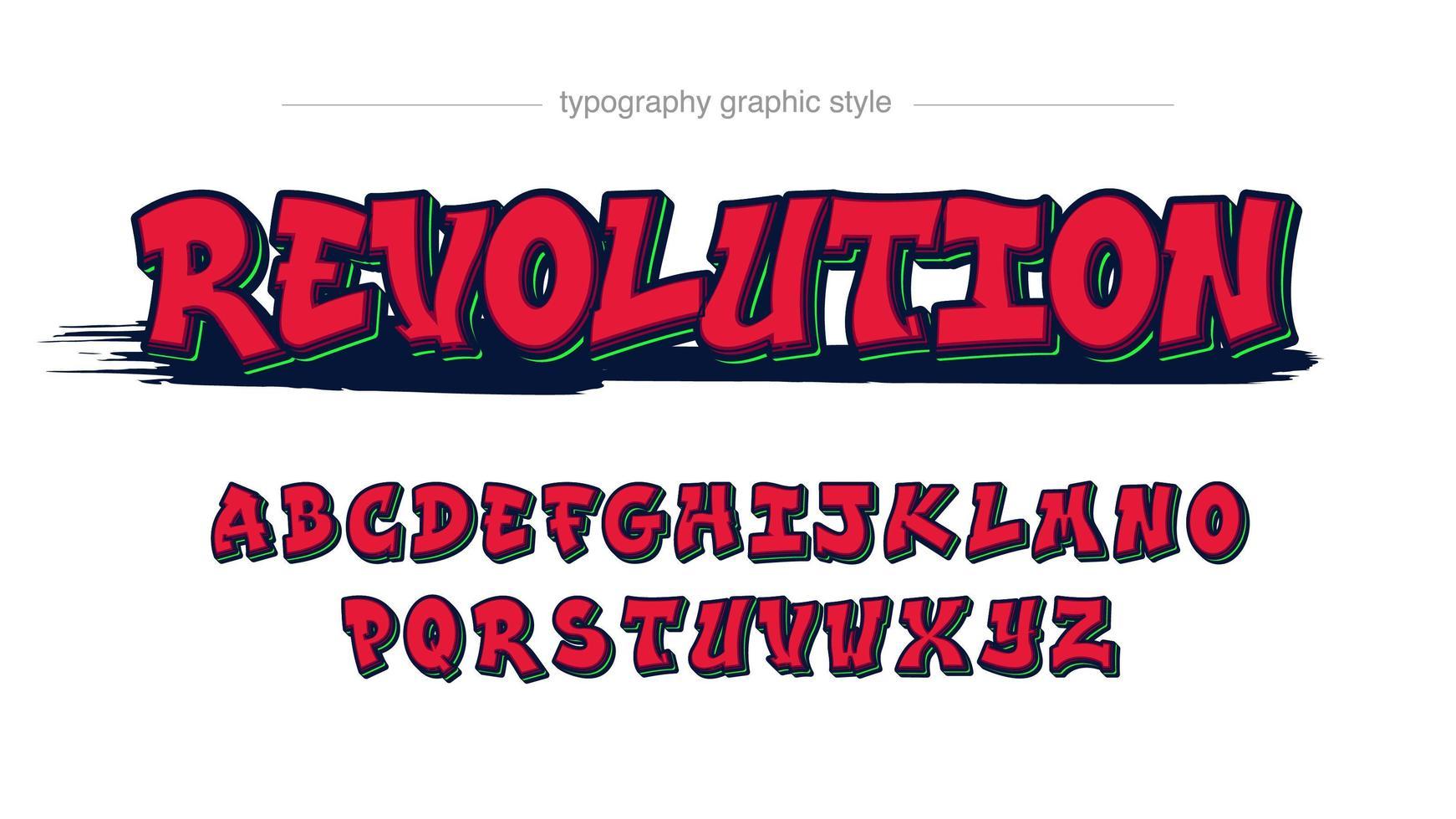 rosso con effetto testo in grassetto stile graffiti vettore
