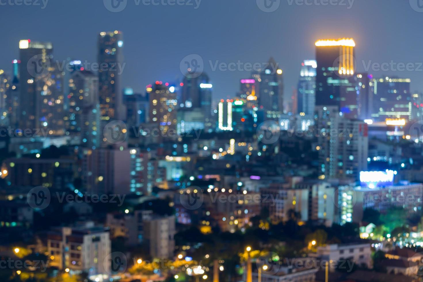 Night lights of blurred cityscape, abstract background photo