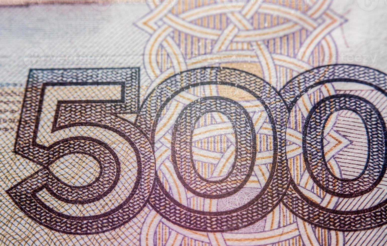 billete de quinientos rublos rusos, fotografía macro foto