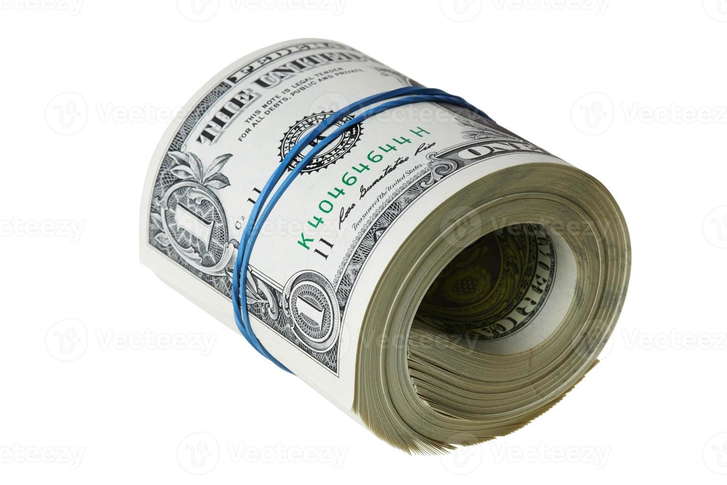 billetes de un dólar enrollados con trazado de recorte foto