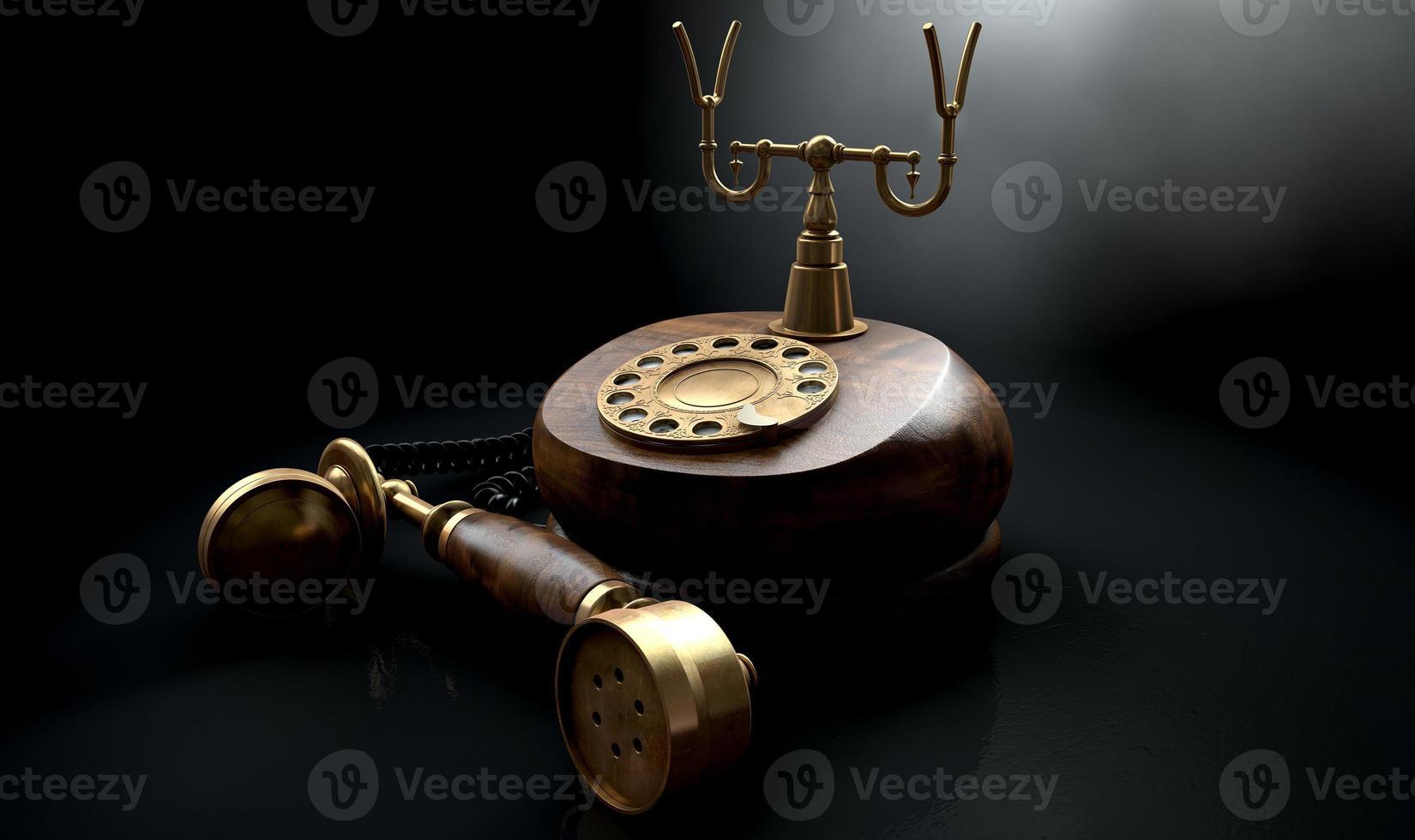 teléfono vintage oscuro descolgado foto