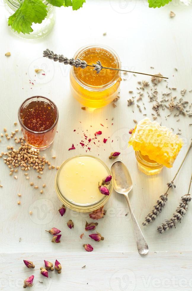 variedad de miel, panal en frascos de vidrio. foto