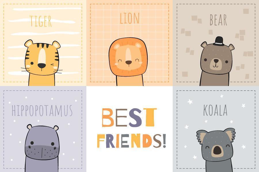 Cute Animals Best Friends Card Design vector
