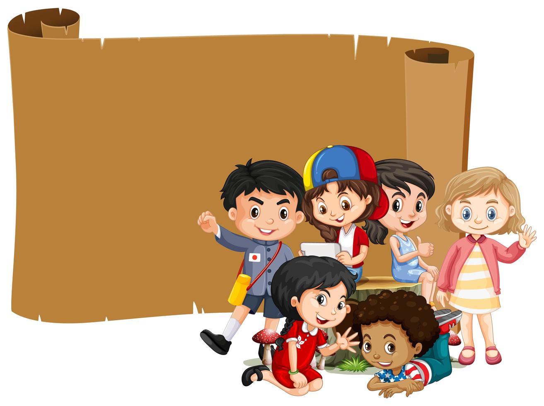 banner de desplazamiento en blanco con niños felices vector