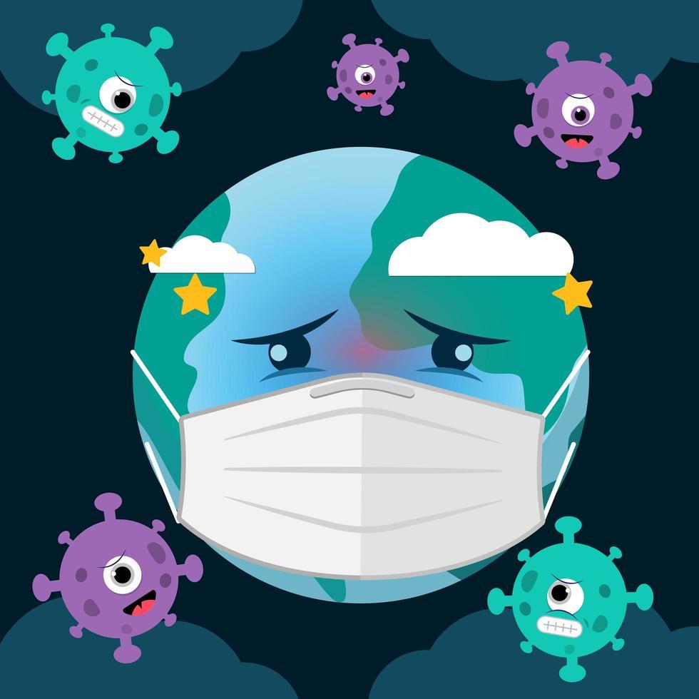 el mundo con máscara y siente miedo por el ataque del virus corona covid-19. vector