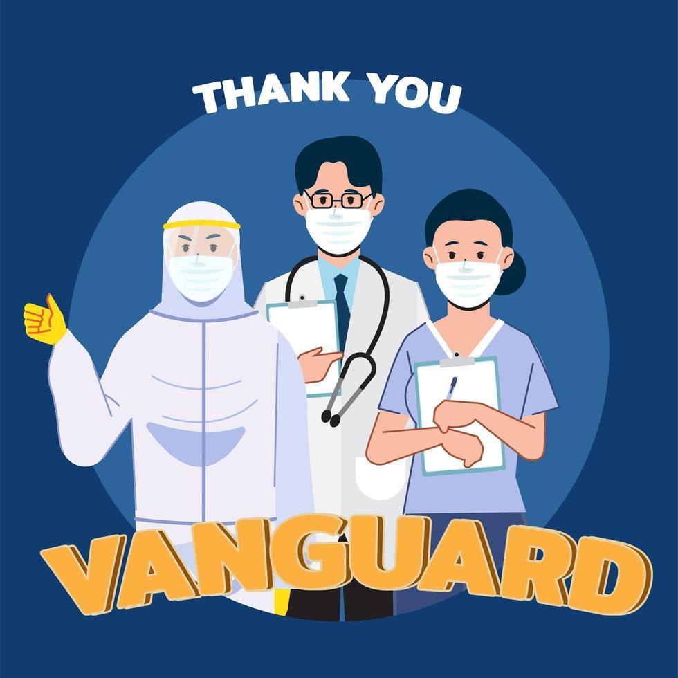 docteur, et, infirmière, merci, concept vecteur