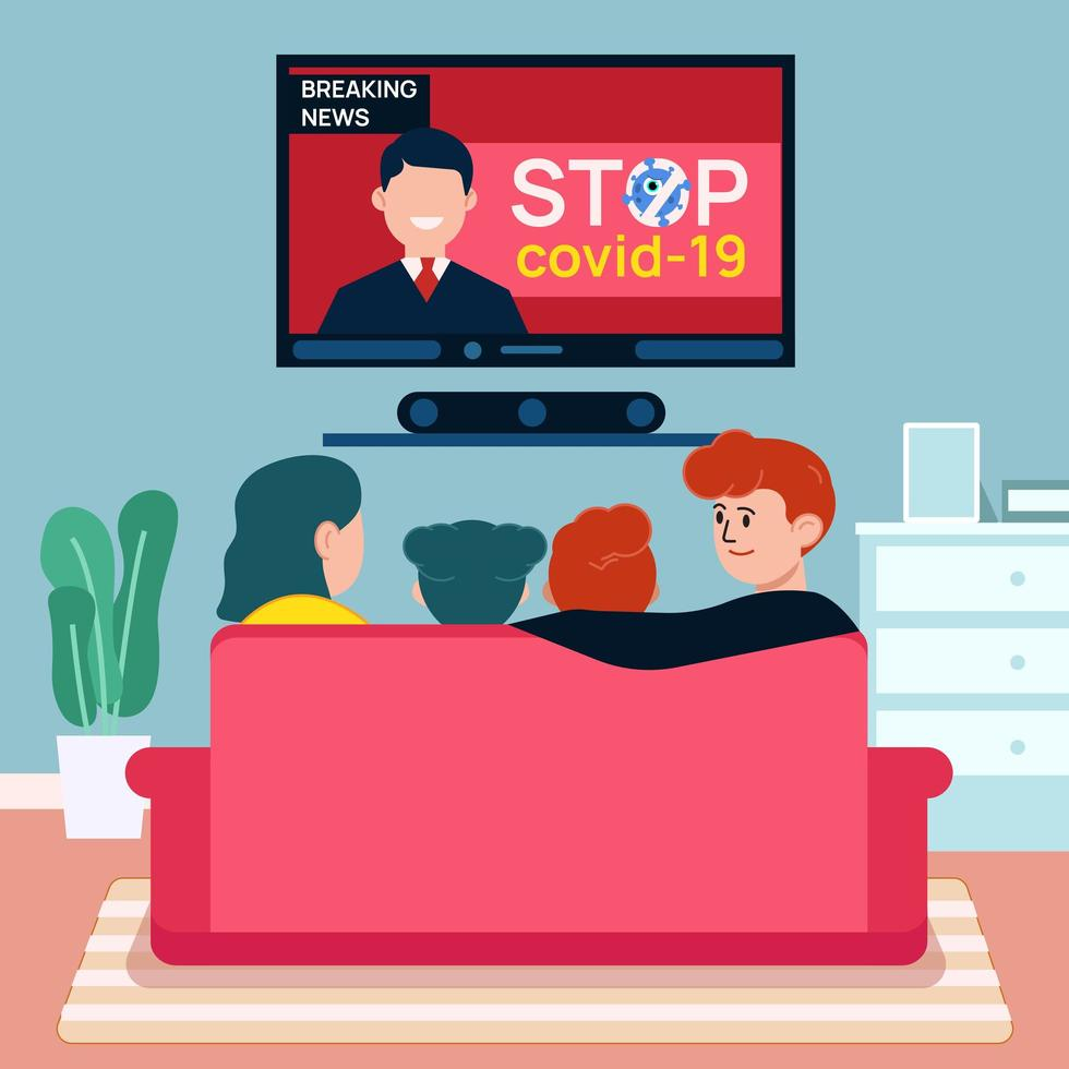 Stay at home with family concept vector
